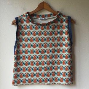 Zara Multicolor Geometric Sleeveless Blouse